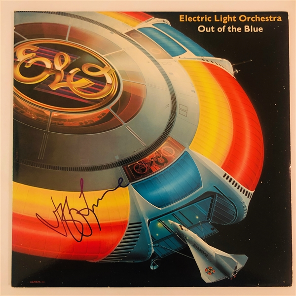 ELO: Jeff Lynne In-Person Signed Out of the Blue Record Album Cover (John Brennan Collection)(Beckett/BAS Guaranteed)