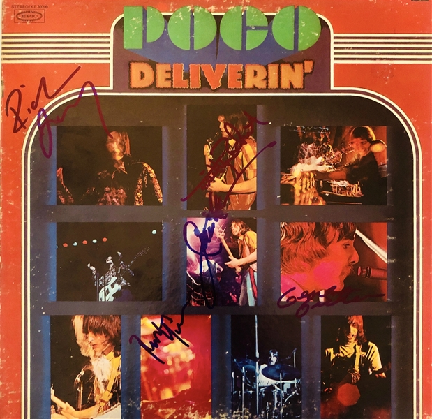 Poco Rare Group Signed Deliverin Record Album Cover (5 Sigs)(John Brennan Collection)(Beckett/BAS Guaranteed)