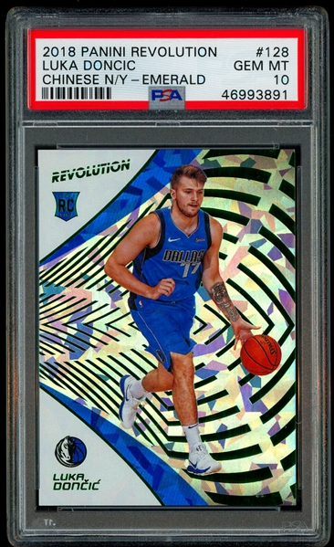 2018-19 Luka Doncic Panini Revolution Chinese New Year Emerald Rookie Card (04/88) :: PSA Graded GEM MINT 10