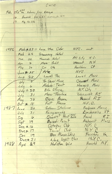 Chuck Berry Handwritten Schedule of Tour Dates c. 1986-88 (Epperson/REAL LOA)