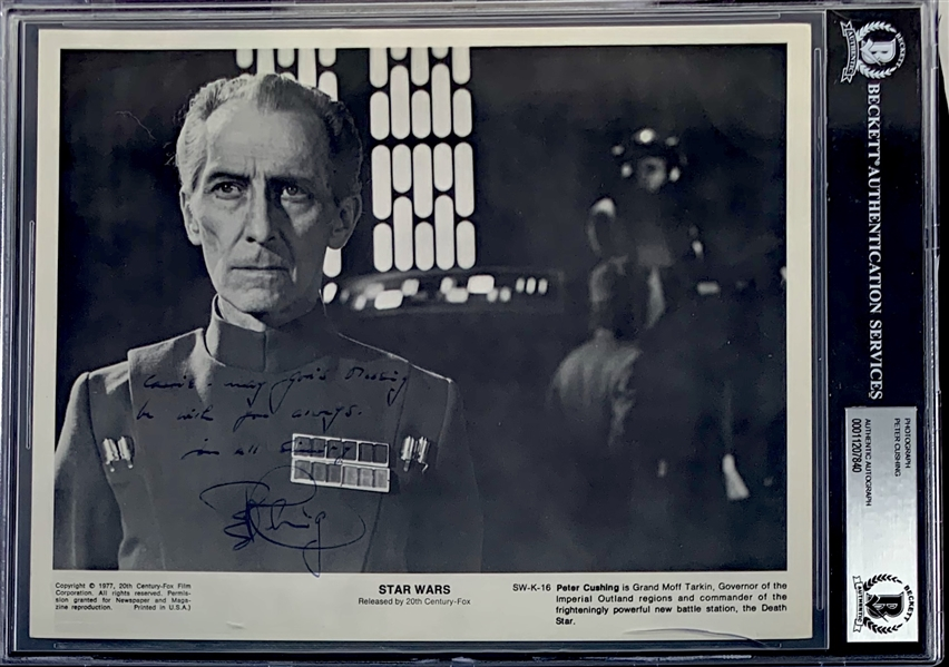 Star Wars A New Hope: Peter Cushing (Grand Moff Tarkin) Rare Signed 8 x 10 Official Press Photo (Beckett/BAS Encapsulated)(Steve Grad Collection)