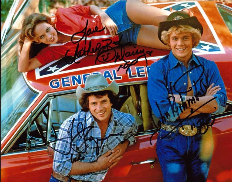 Dukes of Hazzard In-Person Signed 8 x 10 Color Photo with Bach, Schneider & Wopat (Beckett/BAS Guaranteed)