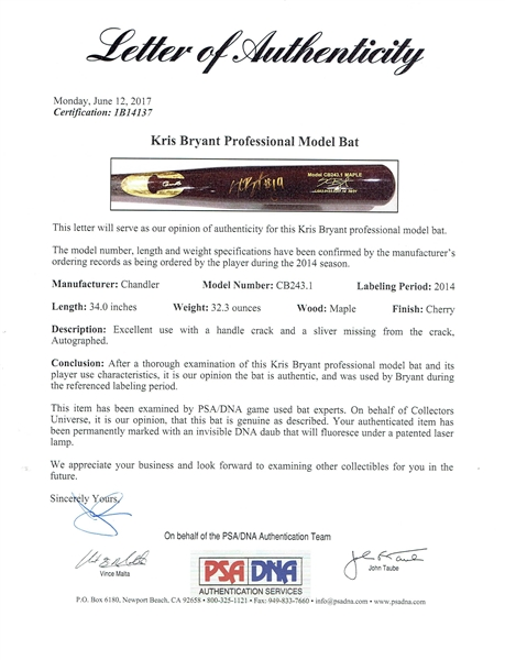 Kris Bryant Signed & Game Used Pre-Rookie 2014 Chandler Baseball Bat (PSA/DNA & Beckett)