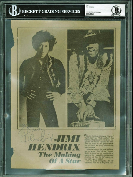 Jimi Hendrix Near-Mint Signed 8 x 10 The Making of a Star Magazine Photo (BAS/Beckett Encapsulated)