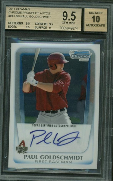 Paul Goldschmidt Signed 2011 Bowman Chrome #BCP99 Rookie Card - BGS Graded 9.5 w/ 10 Auto!