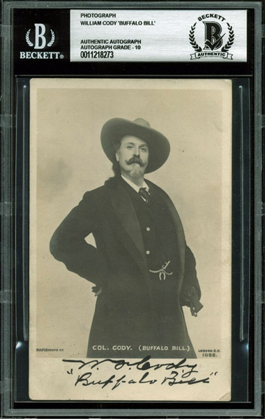 William F. Buffalo Bill Cody Signed 3.5 x 5.5 Postcard Photo (BAS/Beckett Graded GEM MINT 10)