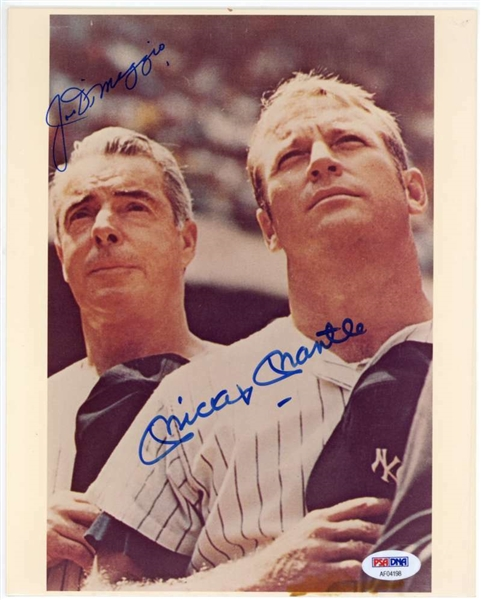 Mickey Mantle & Joe DiMaggio Dual Signed 8 x 10 Yankees Photograph (PSA/DNA)