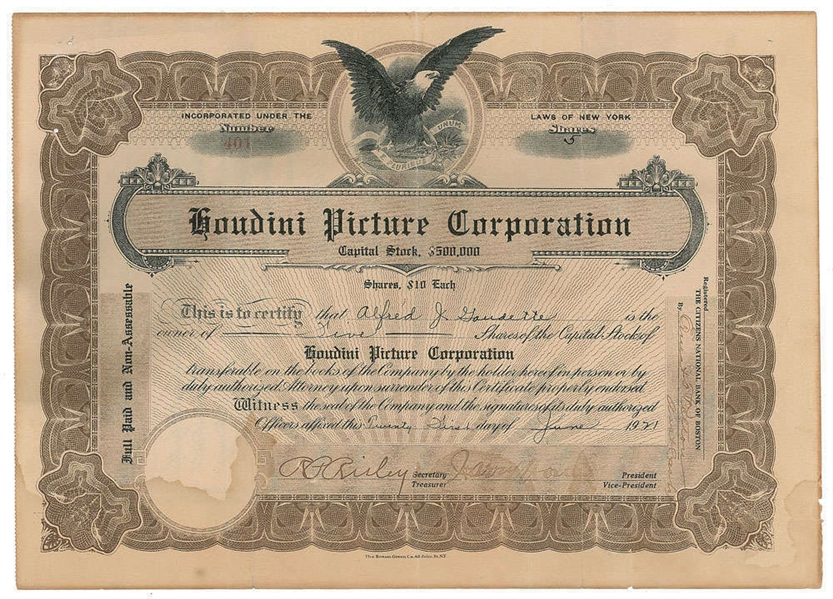 Harry Houdini Signed Houdini Picture Corporation Stock Certificate (BAS/Beckett)