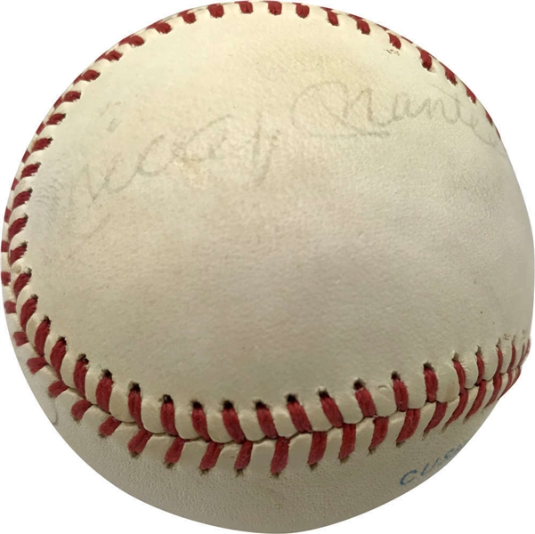 Mickey Mantle & Joe DiMaggio Rare Dual-Signed OAL (MacPhail) Baseball (JSA)