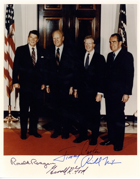 Four Presidents Group Signed 8 x 10 Color Photograph w/ Reagan, Nixon, Ford & Carter! (PSA/DNA)