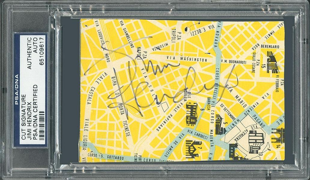 Jimi Hendrix Signed 4.75 x 3.25 Italian Map Segment :: Hendrix Signs While Performing in Milan in 1968! (PSA/DNA)