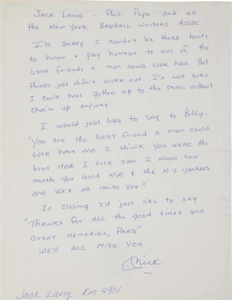 Mickey Mantle One-of-a-Kind Handwritten Note Re: Billy Martin's Passing (PSA/DNA)