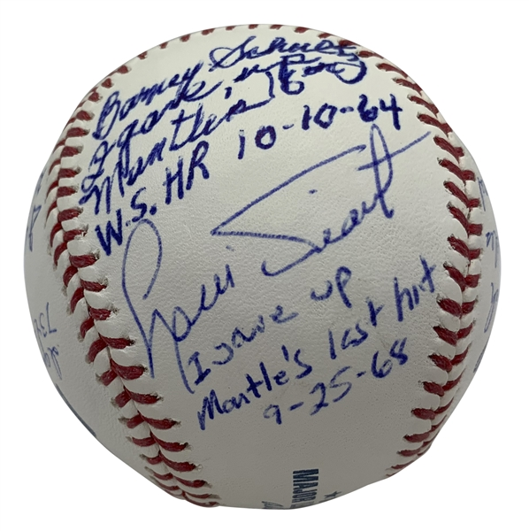 Mickey Mantle Milestone Rare Multi-Signed Stat Baseball w/ Longest HR, Last HR, Replacement & Others! (JSA)