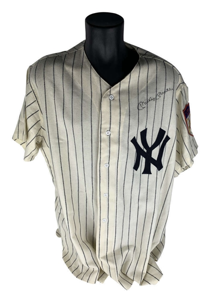Mickey Mantle Signed New York Yankees Mitchell & Ness Jersey (JSA)