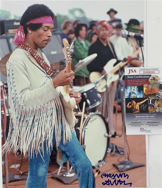 (Jimi Hendrix) Henry Diltz Rare Signed 11 x 14 Color Photo - Hendrix at Woodstock (JSA)