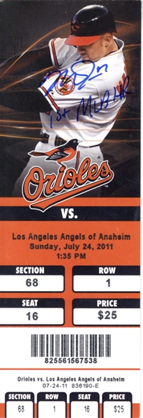 Mike Trout Signed July 24th, 2011 - 1st Major League Home Run Complete Game Ticket (JSA)