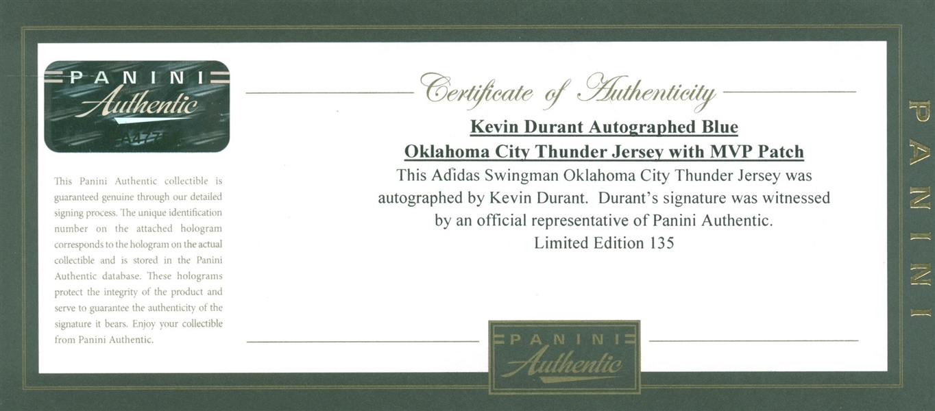 Kevin Durant Signed Oklahoma City Thunder MVP Model On Court Style Jersey (Panini)