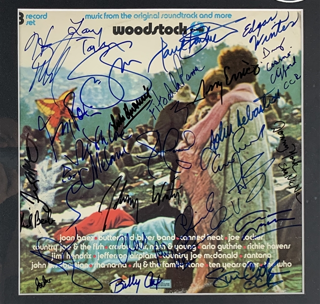 Impressive Woodstock Custom Framed Display with 30+ Signatures from Legendary Musicians Who Appeared at the Show! (JSA LOA)