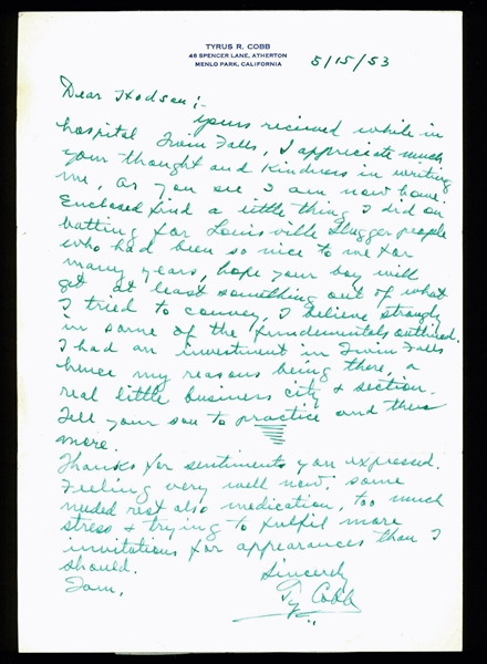 Ty Cobb Handwritten & Signed Letter with Great Baseball Content (PSA/DNA)
