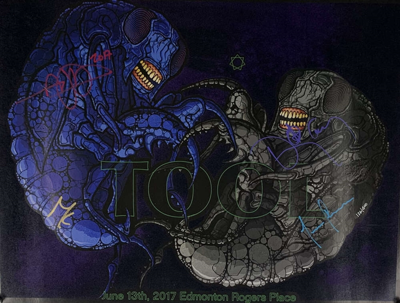 TOOL Group Signed 16 x 20 2017 Concert Poster w/ All Four Members (Beckett/BAS)