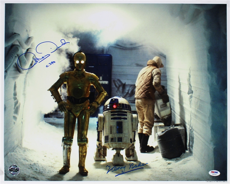 Star Wars: Anthony Daniels & Kenny Baker Signed 16 x 20 Color Photo from The Empire Strikes Back (Official Pix)(PSA/DNA)