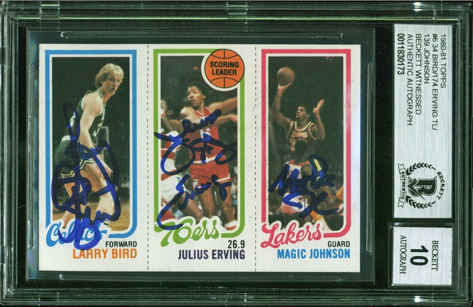 1980-81 Topps Magic Johnson, Larry Bird & Julius Erving Card - Signed by All 3 - Magic & Bird's Rookie - Beckett/BAS Graded GEM MINT 10!