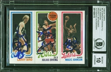 1980-81 Topps Magic Johnson, Larry Bird & Julius Erving Card - Signed by All 3 - Magic & Birds Rookie - Beckett/BAS Graded GEM MINT 10!