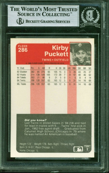 Kirby Puckett Signed 1985 Fleer #286 Rookie Card (Beckett/BAS Encapsulated)