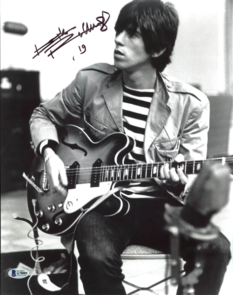 The Rolling Stones: Keith Richards Signed 11 x 14 B&W Photo (Beckett/BAS)