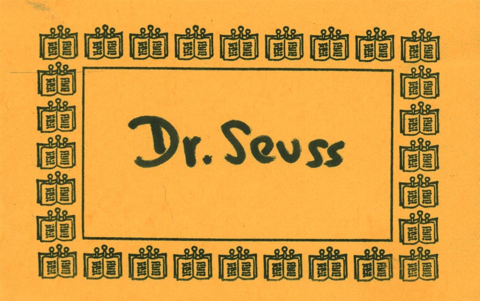 Dr. Seuss Signed 2.5 x 4.25 Book Plate (Beckett/BAS Guaranteed)