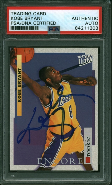 Kobe Bryant ULTRA-RARE Signed 1996-97 Fleer Ultra Encore Rookie Card (PSA/DNA Encapsulated)