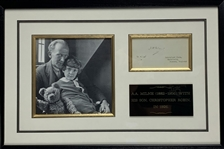 "A.A. Milne Signed & Dated 3"" x 5"" Calling Card Framed Display (Beckett/BAS Guaranteed)"
