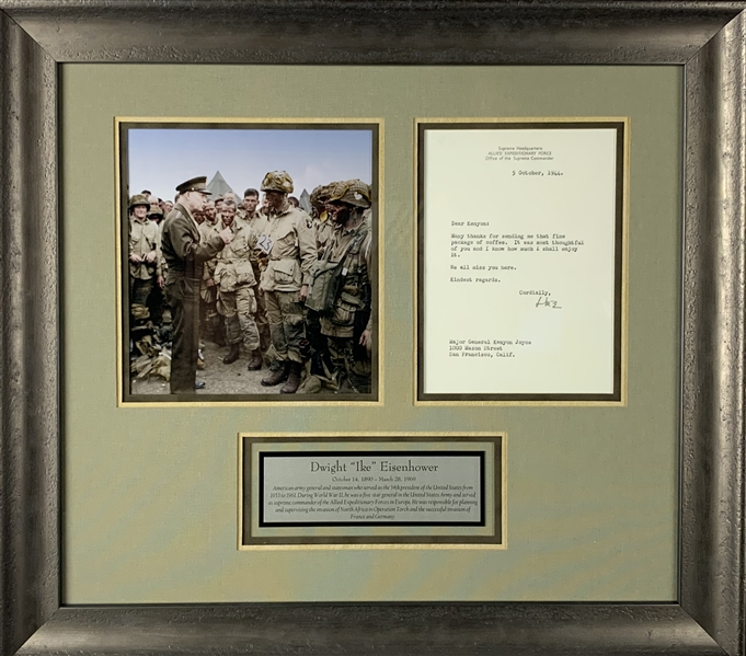 President Dwight D. Eisenhower Signed  5 x 7 Allied Expeditionary Force Letter (Beckett/BAS Guaranteed)