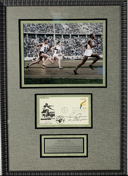 Jesse Owens Rare Signed Past Olympic Heros First Day Cover 15.5 x 22 Display (Beckett/BAS Guaranteed)