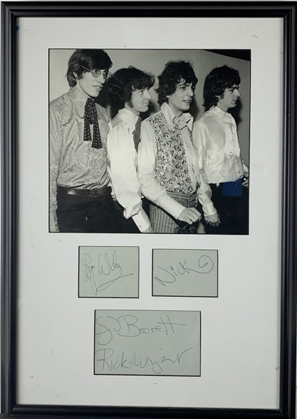 Pink Floyd Band Signed 16 x 23 Early Cut Signature Display w/ ULTRA-RARE Syd Barrett! (JSA LOA)(Floyd Authentic Guaranteed)