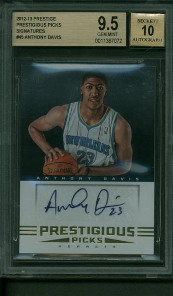 Anthony Davis Signed 2012-13 Panini Prestige Prestigious Picks Signatures #45 Rookie Card - Beckett/BGS 9.5 w/ 10 Autograph!