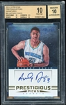 2012-13 Anthony Davis Panini Prestige Prestigious Picks Signatures #45 Autographed Rookie Card :: BGS Pristine 10 with 10 Autograph!