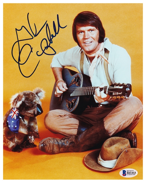 Glen Campbell Superb In-Person Signed 8 x 10 Color Photo (Beckett/BAS COA)
