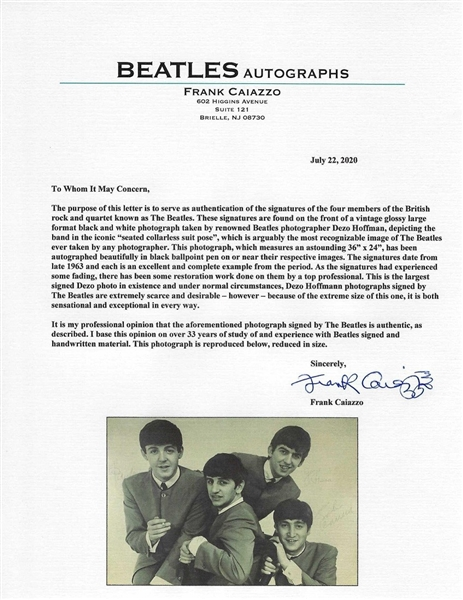 The Beatles Amazing Vintage Signed 24 x 36 Dezo Hoffmann Print :: The Largest Beatles Group Signed Item Known to Exist! (Caiazzo LOA)