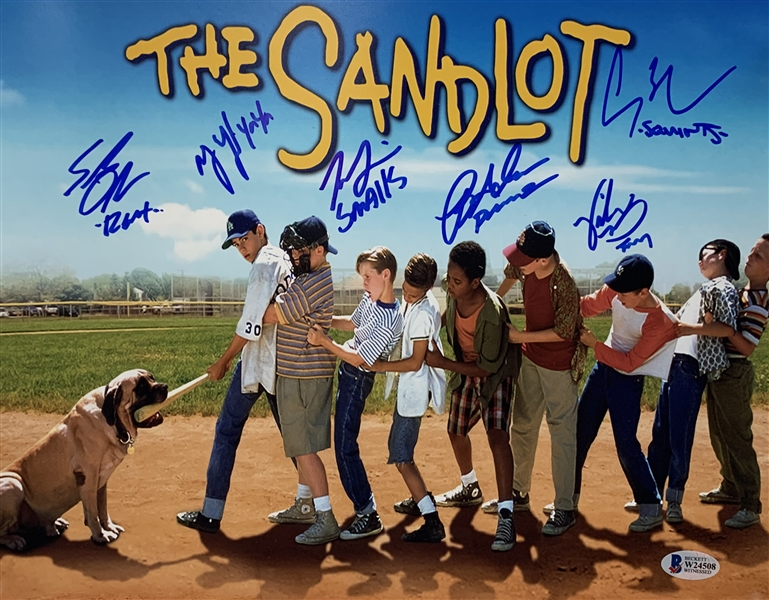 The Sandlot Cast Signed 11 x 14 Color Photograph w/ 6 Signatures! (Beckett/BAS)