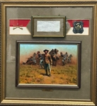 General George Custer Signed Civil War Era Letter in Custom Framed Display with Original Painting (PSA/DNA)