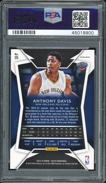 2014-15 Panini Select Anthony Davis Silver Prizm :: PSA Graded GEM MINT 10