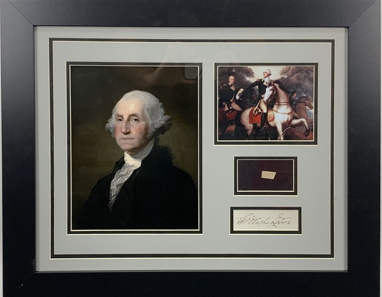 President George Washington Handwritten 24 x 20 Framed Display (JSA)