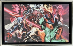 "Alex Ross Incredible ""Marvel Unleashed"" Multi-Signed 21"" x 12.5"" Printers Trial 1/1 Canvas w/ Stan Lee, Ferrigno & Others! (Beckett/BAS LOA)"