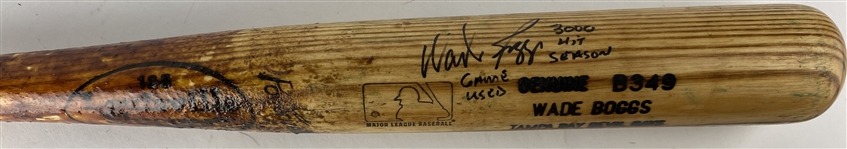 Wade Boggs Signed & Game Used 1999 B349 Baseball Bat During 3000 Hit Season! PSA/DNA GU 9!