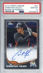 Christian Yelich Signed 2013 Topps Chrome Rookie Card - PSA Graded GEM MINT 10!
