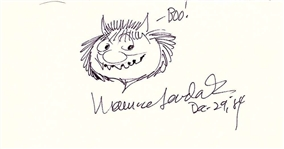 "Maurice Sendak ""Where the Wild Things Are"" Signed Album Page w/ Hand Drawn Carol Sketch (Beckett/BAS)"