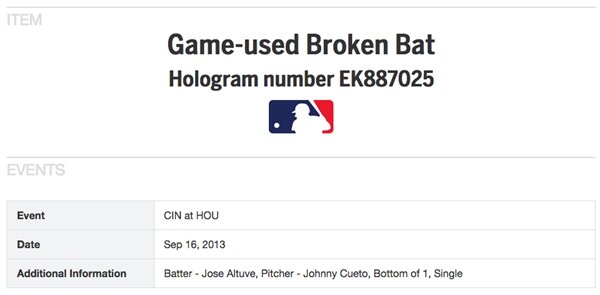 José Altuve Game Used TL-238 Baseball Bat :: Used 9/16/2013 for Career Hit #392 off Johnny Cueto! :: Photo-Matched (MLB)