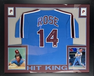 "Pete Rose Phillies Signed Jersey Framed 35.5"" x 43.5"" Display (JSA)"