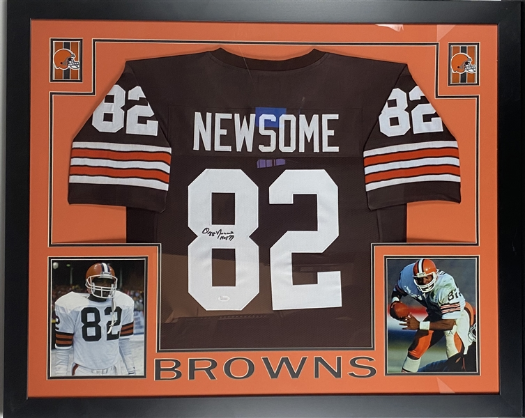 Ozzie Newsome Signed Cleveland Browns Jersey Framed 35.5 x 43.5 Display (JSA)